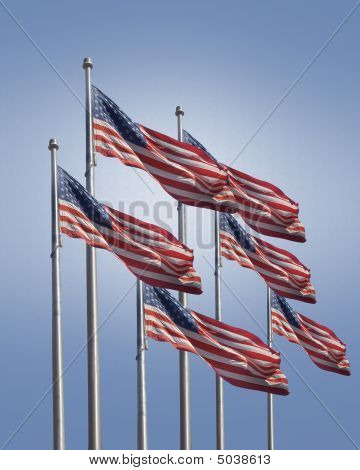 American Flags On Blue Background