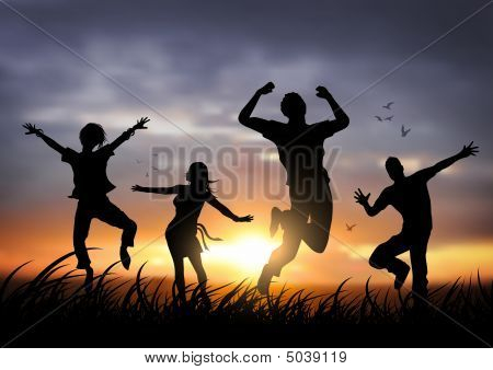 Happy Jumping People