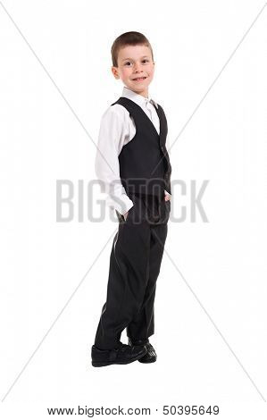 boy in black costume