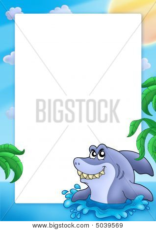 Frame with shark and palms - color illustration. poster
