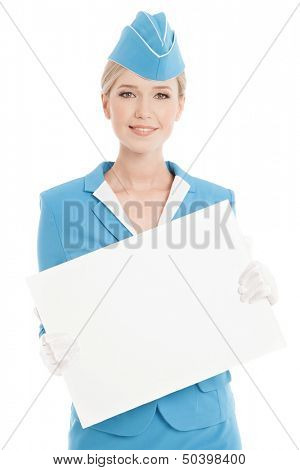 Charming Stewardess Dressed In Blue Uniform With Blank Form On White Background