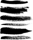 Black color brush vector strokes isolated set poster