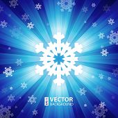Blue color burst of light with snowflakes and snow vector illustration poster