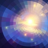 Abstract violet shining circle tunnel lined background poster