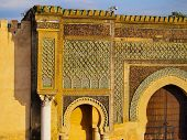 Bab Mansour - beautifully decorated gate of the old medina in Meknes Morocco Africa poster