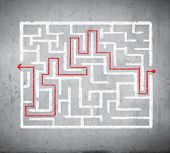 Drawn abstract maze against white background. Finding solution poster