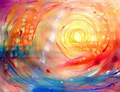 a Watercolor painted abstract red sun picture . poster