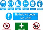Health and safety warning signs at a building site poster