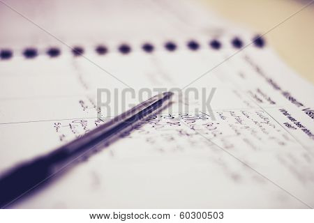 Pen And Guestbook With Handwriting