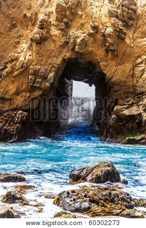 California Pfeiffer Beach in Big Sur State Park rocks and waves