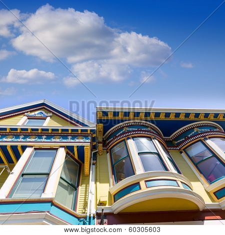 San Francisco Victorian houses in Haight Ashbury of California USA