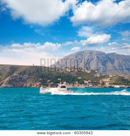 Denia Alicante Llaut boat sailing in Las Rotas Mongo at Mediterranean Spain