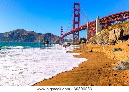 San Francisco Golden Gate Bridge GGB from Marshall beach in California USA