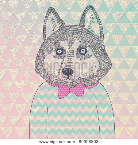 Husky hipster dog. Concept cartoon illustration in modern colors. Cute dog on seamless pattern. Childish card in vector.