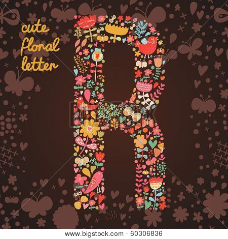 The letter R. Bright floral element of colorful alphabet made from birds, flowers, petals, hearts and twigs. Summer floral ABC element in vector