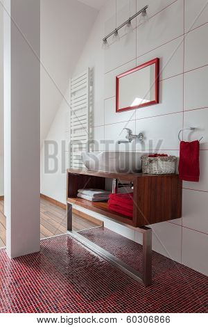 Ruby house - Modern bathroom: washbasin on a couter top poster
