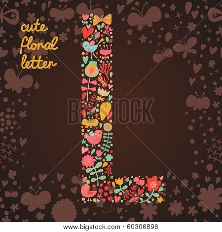 The letter L. Bright floral element of colorful alphabet made from birds, flowers, petals, hearts and twigs. Summer floral ABC element in vector