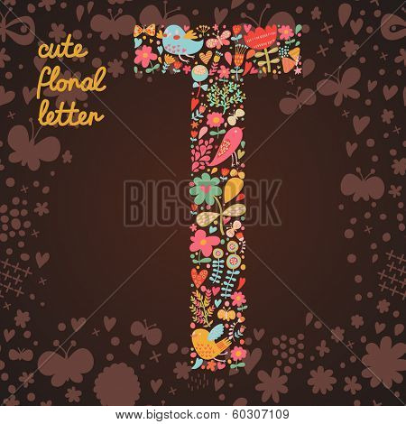 The letter T. Bright floral element of colorful alphabet made from birds, flowers, petals, hearts and twigs. Summer floral ABC element in vector