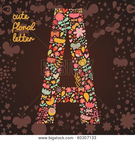 The letter A. Bright floral element of colorful alphabet made from birds, flowers, petals, hearts and twigs. Summer floral ABC element in vector