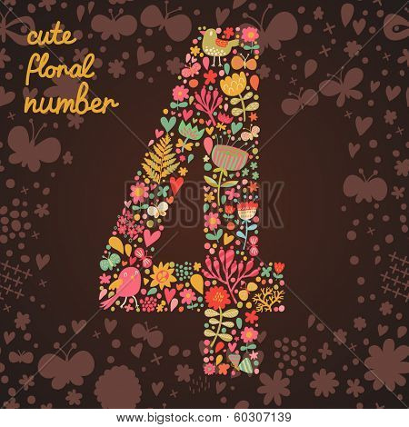 The number 4. Bright floral element of colorful alphabet made from birds, flowers, petals, hearts and twigs. Summer floral ABC element in vector