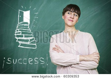 Woman Smiles Writes On A Blackboard The Concept Of Success