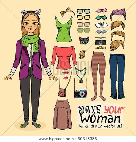 Hipster pretty girl with accessories