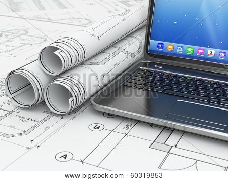 Laptop and blueprint with house project. 3d