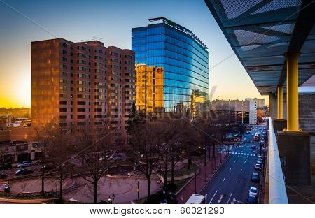 View Of Buildings Along 11Th Street At Sunset In Downtown Wilmington, Delaware, From The City Center