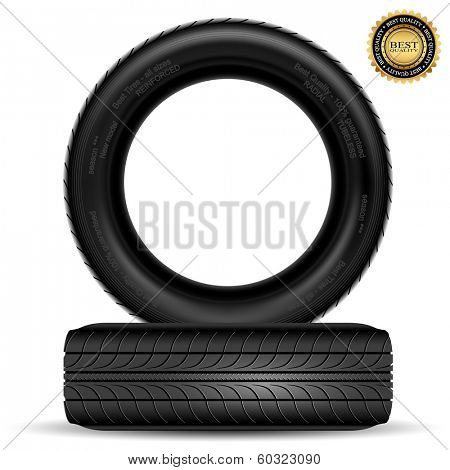 Illustration of car tire isolated on white background. Vector.
