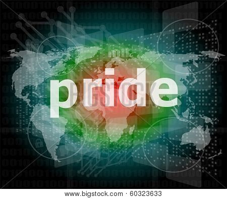 The Word Pride On Digital Screen