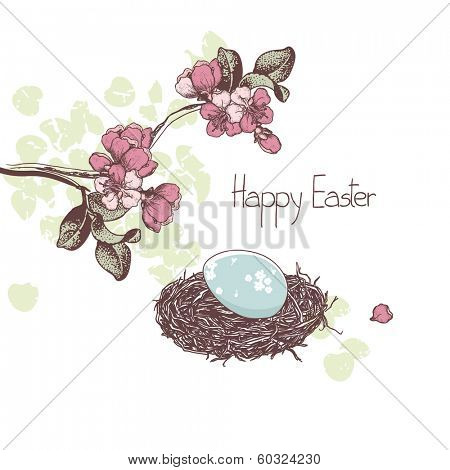 easter card, cherry blossom and egg
