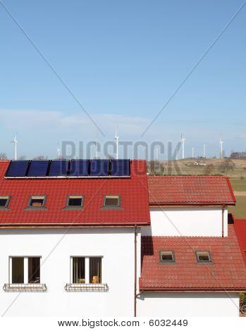 Solar panels and windmills