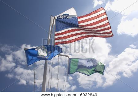 Four Flags In Mystic Connecticut