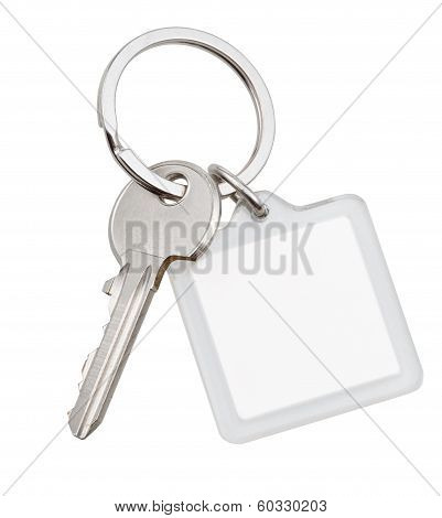 One House Key And Square Keychain On Ring