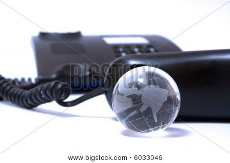 Business Phone And Glass Globe