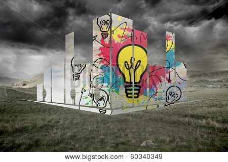 Light bulb on abstract screen against stormy countryside background poster