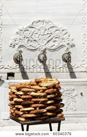 Turkish Traditional Sesame Bagels. - Simit -.