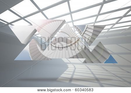 Winding staircase on abstract screen against white room with windows at ceiling poster