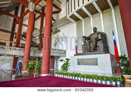 TAIPEI, TAIWAN - JANUARY 16, 2013: A soldier stands guard over Chiang-kai Shek Memorial Hall. He first ruled mainland China for 22 years, and then Taiwan for 30 years.