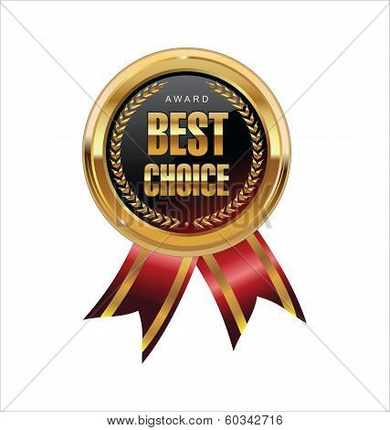 Best choice red label with ribbons vector