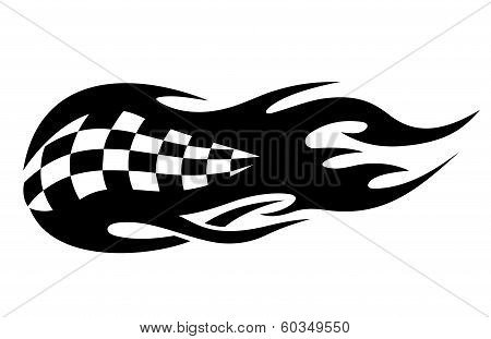 Flaming black and white checkered flag
