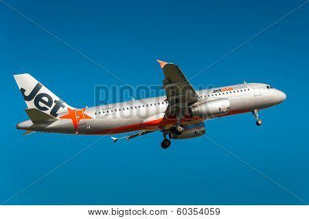 Jetstar passenger airplane taking off