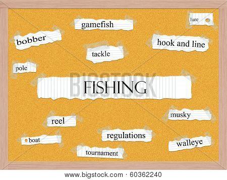 Fishing Corkboard Word Concept