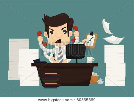 Businessman Work Hard And Busy