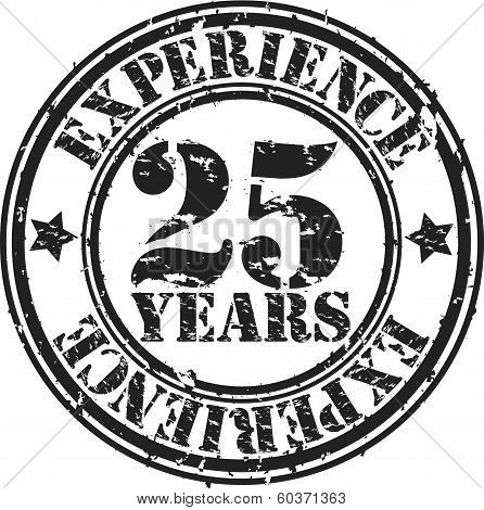 Grunge 25 years of experience rubber stamp, vector illustration