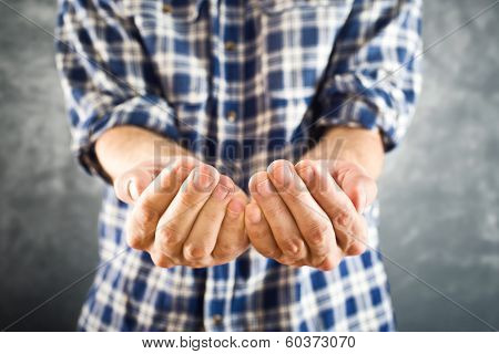Male Open Hands For Begging