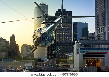 Helicopter Flying Manhattan South Skyline