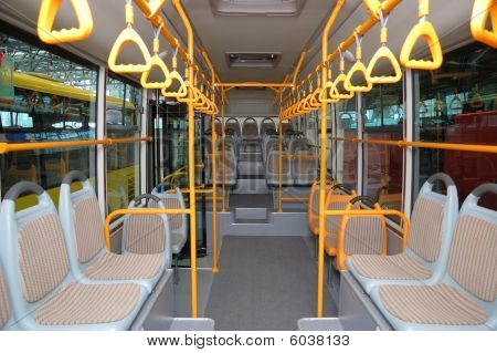 Interior Of An Empty City Bus