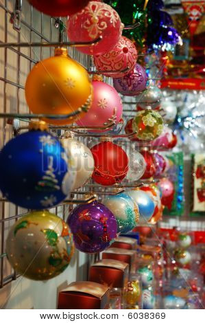 Row Of Colorful Christmas Decorations