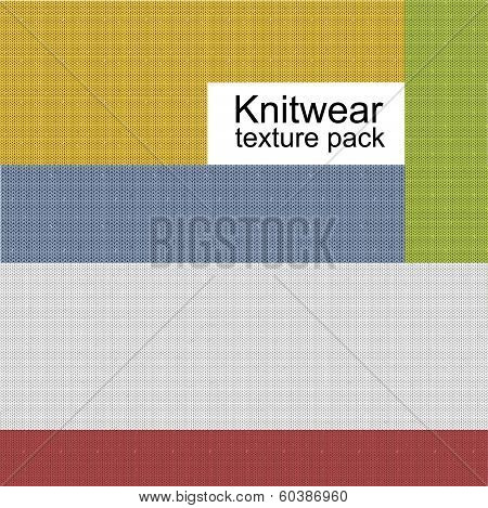 Knitwear vector texture set, containing samples of different color cloth. poster